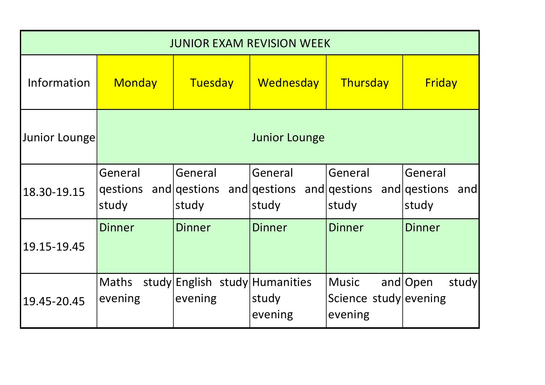 Study week in the boarding houses